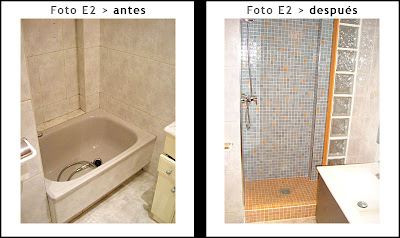 Quitar bañera y poner plato de ducha de obra con gresite o mosaico vitreo y piezas de pavés para instalar mampara estándar.