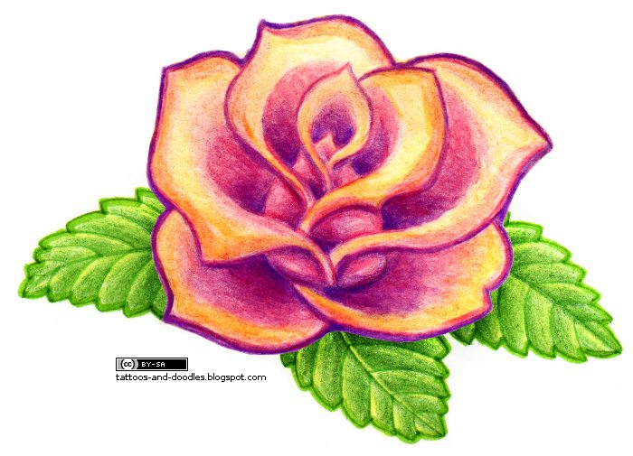 pink rose tattoo pictures. Simple colorful rose tattoo