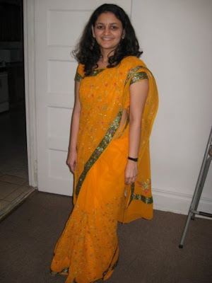 Sakshi Sharma in yellow saree