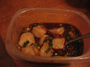 . soy sauce, garlic, ginger, brown sugar, mandarin zest, 2 scallions, . (scallops)