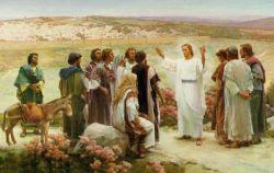 Jesús resucitado hablando a sus discípulos