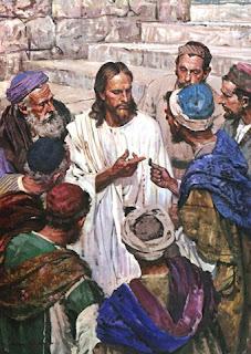 Dibujo de Cristo explicando a los fariseos mientras le muestran una moneda