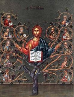 Cristo, la Vid y los sarmientos. Copia contemporánea de un antiguo icono bizantino