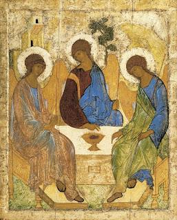 La Trinidad. Icono de Andréi Rubliov. 1410. Galería Tretyakov. Moscú.