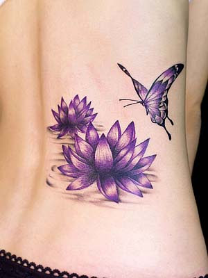 Violet Lotus with Butterfly Tattoo. Violet Lotus with Butterfly Tattoo