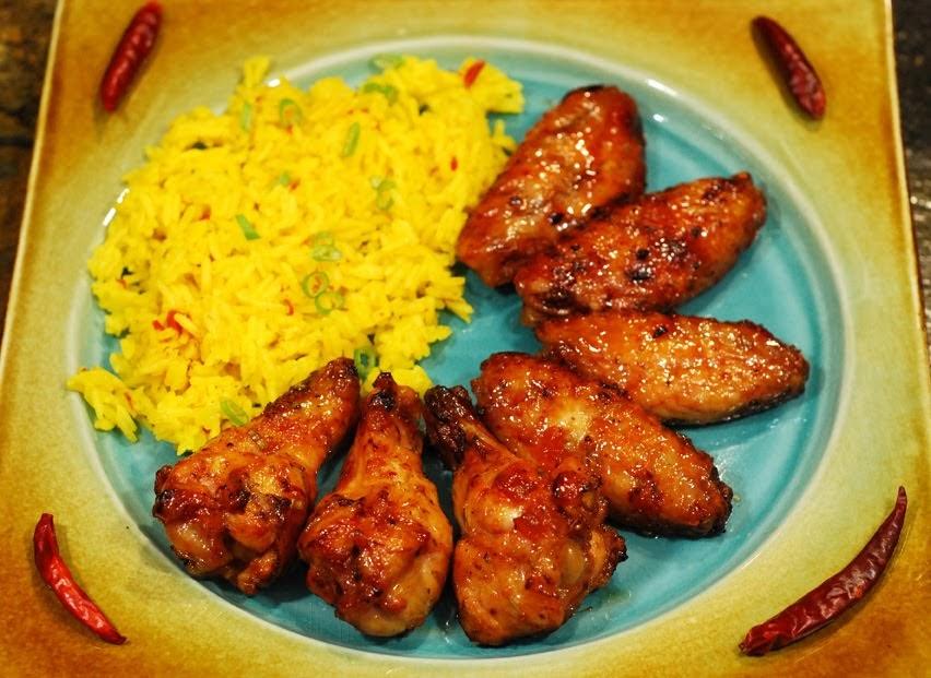 Sriracha Wings & Saffron Rice