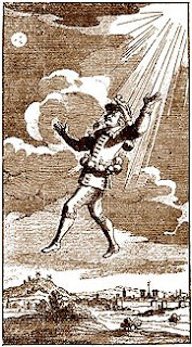 Dyrcona's ascension using flasks of morning dew. 17th century engraving.