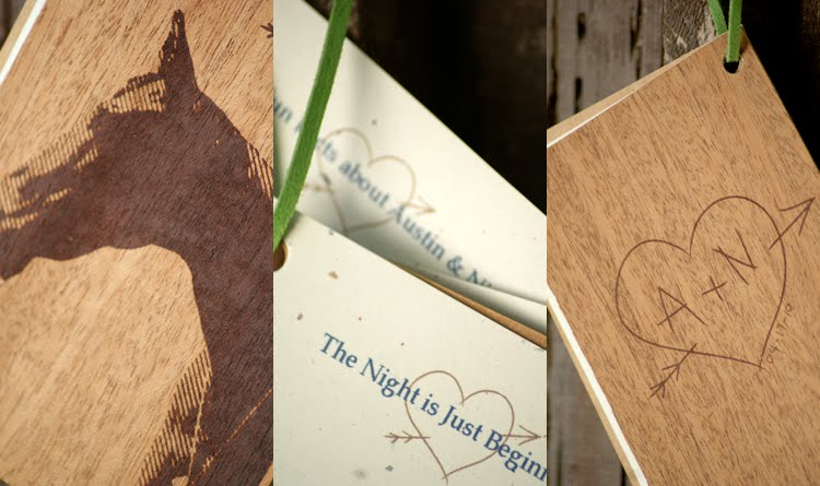 the design pocket A N screenprinted on wood wedding programs revealed