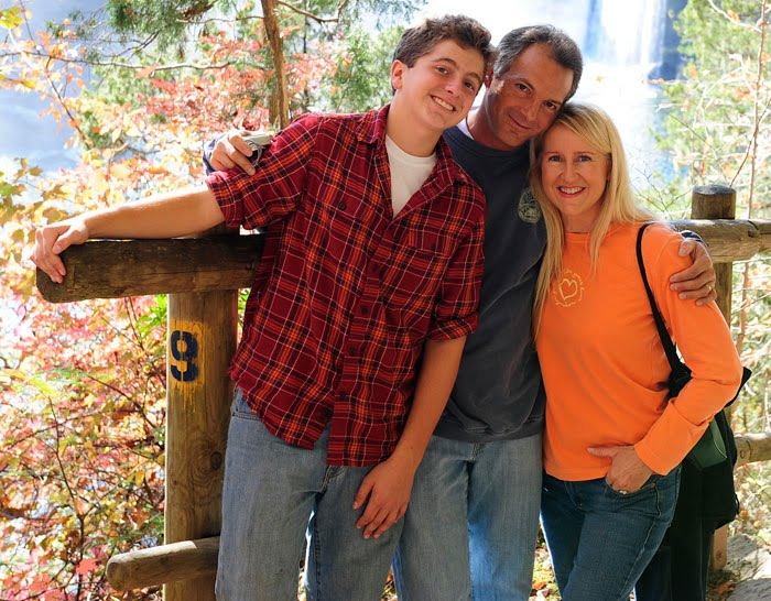 Matthew Riccetti, Rick Riccetti, and Kelly Riccetti at Cumber Falls State Park in Kentucky.
