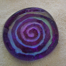 reverse painted glass pendant