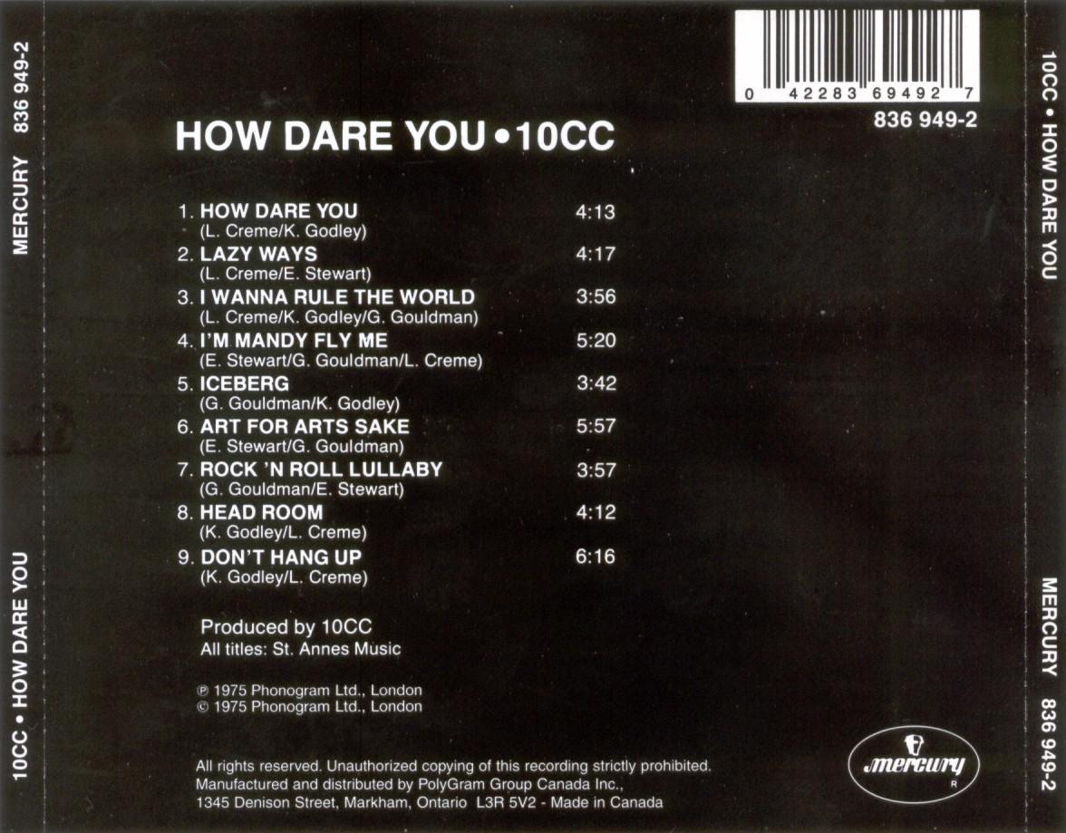 10cc - How Dare You!