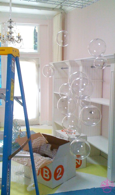 Diy bubble chandelier popsugar home seeing the first bubble hanging was so much fun aloadofball Images