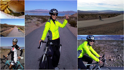 Bike riding along Lake Mead