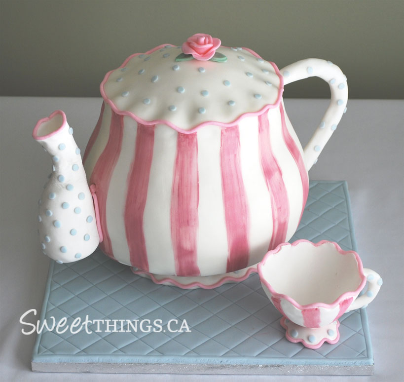 Sweetthings bridal shower teapot cake this cake was designed to match the bridal shower invitations the cake was strawberry vanilla cake with vanilla swiss meringue buttercream filmwisefo