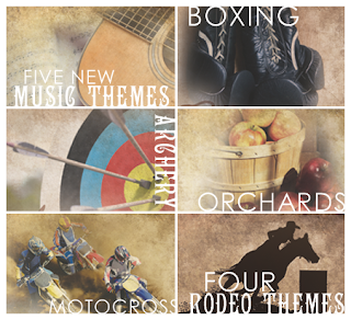 a few stationery themes now offered through tribute center, including archery, music, boxing, orchards, motocross, and rodeo