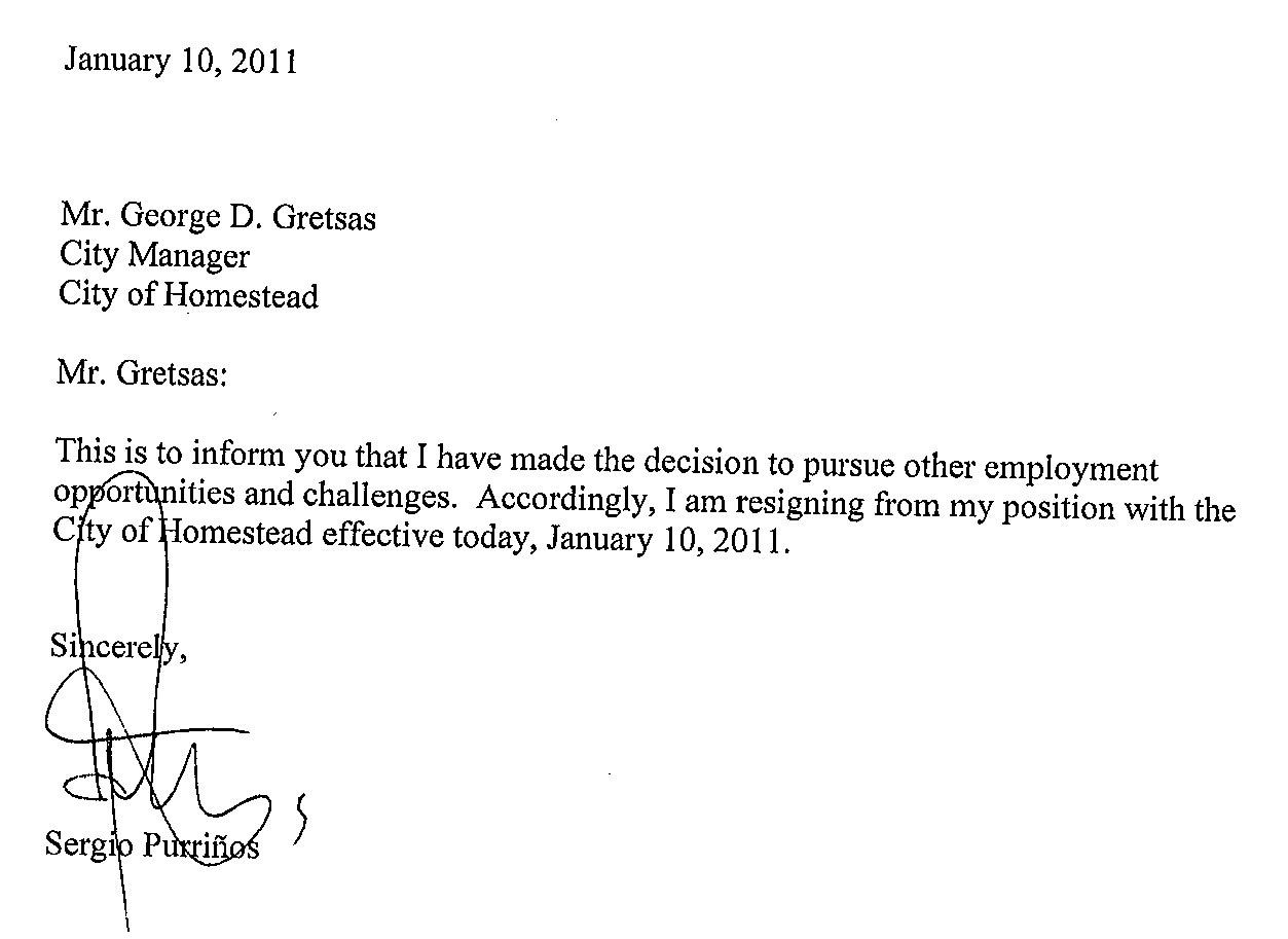 resignation letter immediate