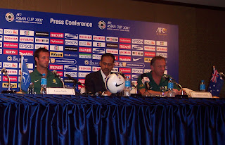 Lucas Neill and Graham Arnold at Australia's pre-match press conference, July 12 2007