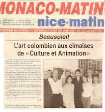 Virginia Hernandez en Articulo en MONACO-MATIN , Expo en Beausoleil, Sala de la Cultura 2005