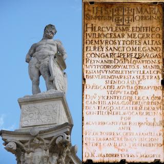 Hércules (Alameda) y lápida de Puerta de Jerez