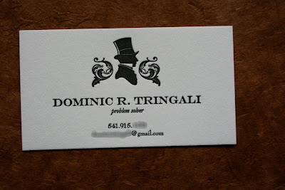 Twin ravens press business and calling cards galore man of mystery or something by night dominic tringali is another one of my eugene acquaintances who desired a stylish and classy calling card to reheart Images