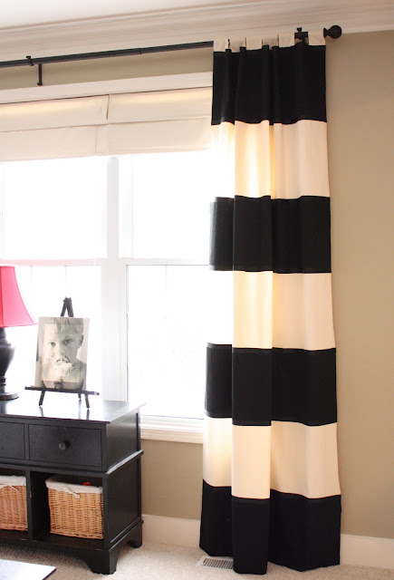 The yellow cape cod bold striped diy drapes Bold black and white striped curtains