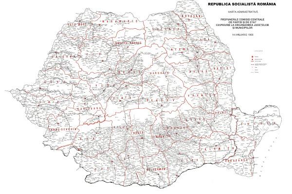 Harta judeţelor României propuse în anul 1968