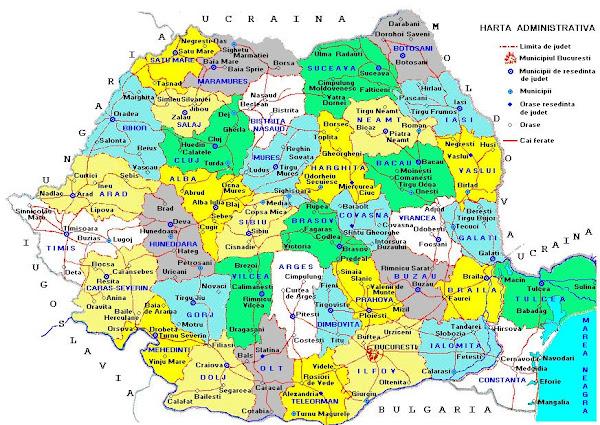 Harta României în anul 1981