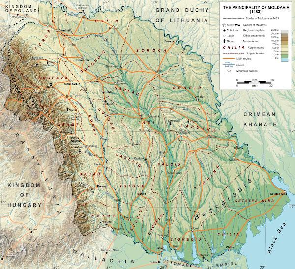 Harta Moldovei în anul 1483
