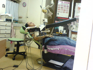 Joey on the dentist chair