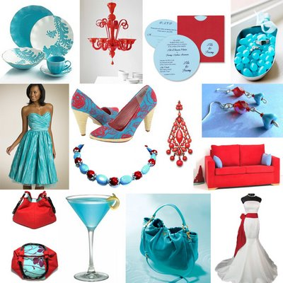I really like Tiffany blue and red together for Fall