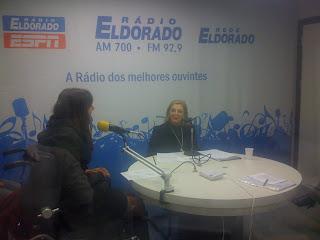 Mara Gabrilli e a Mara Siaulys no estúdio da Eldorado