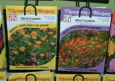 [Photo: Thompson and Morgan wildflower seed packets, California Mix and North American Mix.]