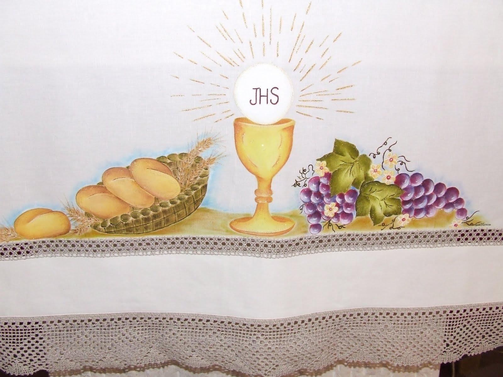 Esta    Uma Toalha De Altar  Pintada    M  O  Que Fiz Para O Altar Da