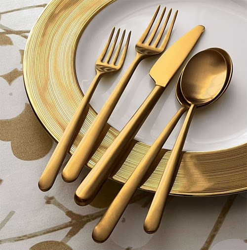 classically eclectic gold plated flatware. Black Bedroom Furniture Sets. Home Design Ideas