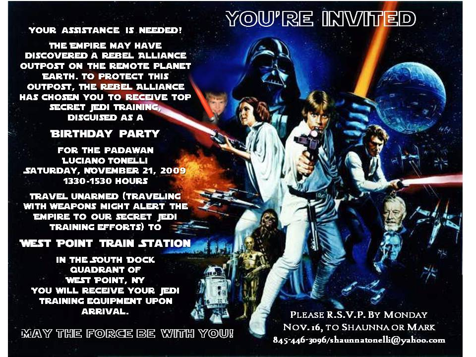 Star Wars Party Invitations. a star wars birthday party