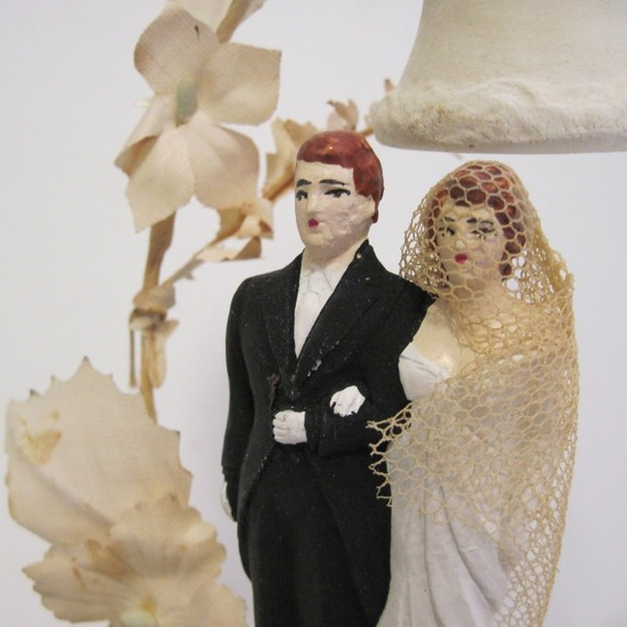 1940 39s chalkware wedding cake toppers via Etsy Vintage Wedding Party via