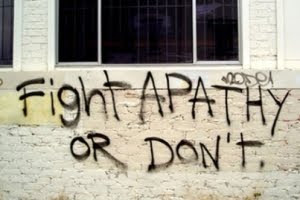 Fight apathy graffiti