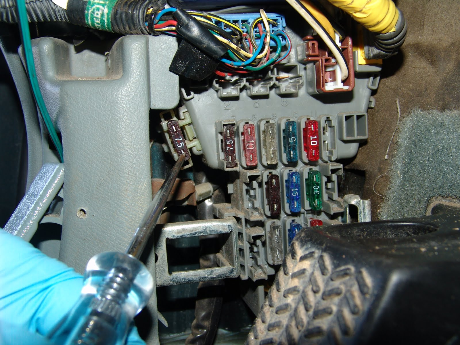 to see when you are looking at the fuse box by leaning in from the