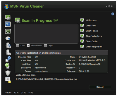 MSN Virus Cleaner v2.0.3.3 [elimina virus, gusano, malware]