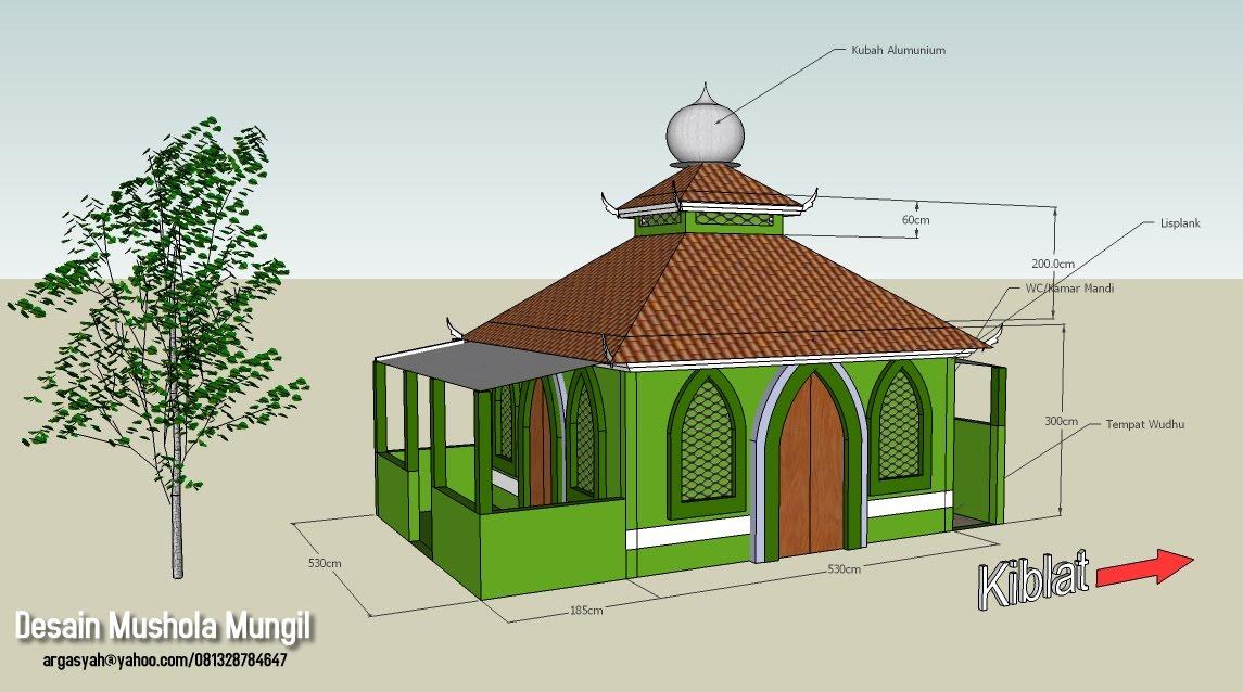 Desain Eksterior Mushola Mungil Ukuran ± 5×5 Meter