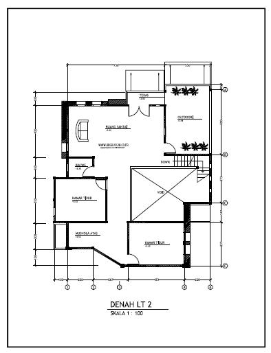 contoh gambar kerja rumah minimalist 2 lantai argajogja