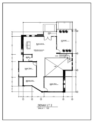 model rumah 2 lantai on Contoh Gambar Kerja Rumah Minimalist 2 Lantai Denah Lantai 2