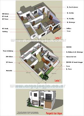 desain rumah 2 lantai on Blognya Wong Sipil karo Arsitek: Desain Rumah 2 Lantai Dengan Sketch ...