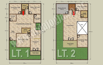 Desain Denah Rumah 2 lantai di Atas Lahan 144 m2 Alternatif 1