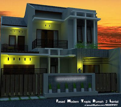 rumah modern lantai 1 on ... Wong Sipil karo Arsitek: Desain Fasad Rumah 2 Lantai Modern Tropis