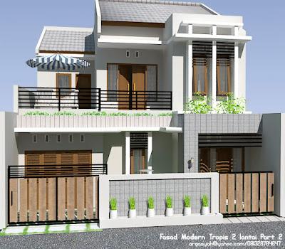 Desain Fasad Modern Tropis 2 lantai