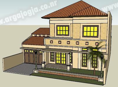 Desain Sketch Eksterior Fasad Rumah 2 Lantai Mediteran Style