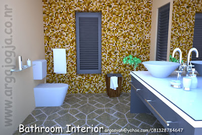 Desain Interior Kamar Mandi Kecil Dinding Mosaic Style