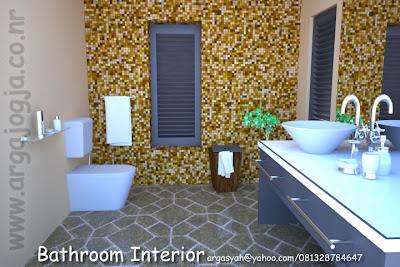 Desain Interior Kamar Mandi Kecil Mosaic Style