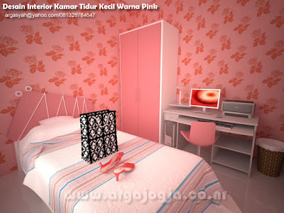 Desain Interior Kamar Tidur Kecil Warna Pink